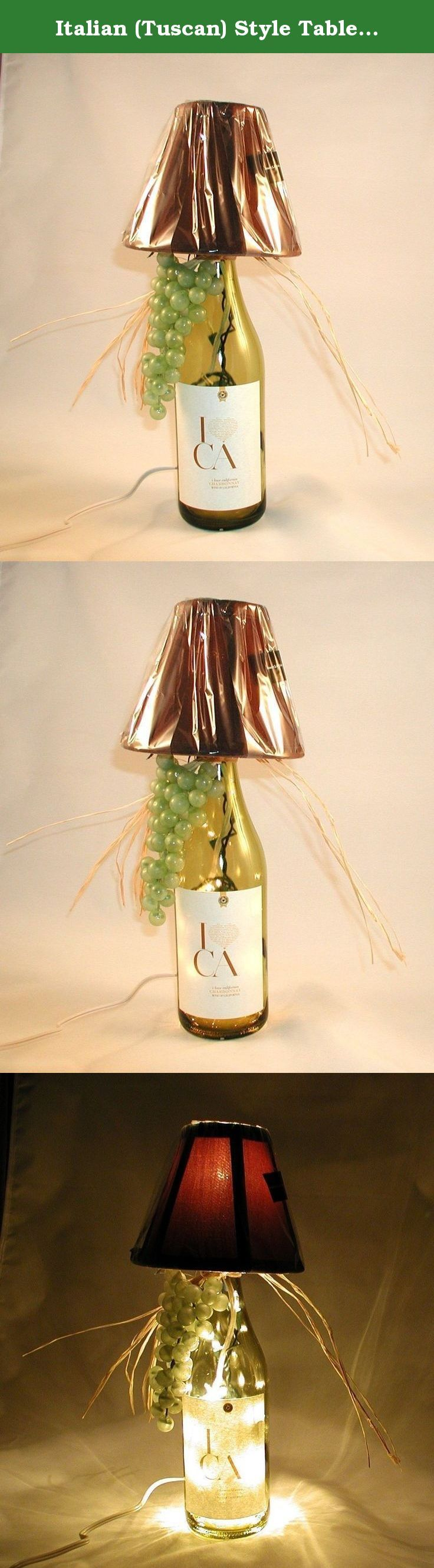 "Italian (Tuscan) Style Table Lamp Crafted From a re-cycled I Love California Chardonnay WineBottle. Shipping is included. Very attractive wine bottle table lamp made with a recycled I Love California Chardonnay wine bottle. The bottle is light amber and the shade is brown. Lamp is approximately 15"" tall and approximately 10 "" wide (including the raffia). It has a nite light under the shade and mini lights inside the bottle. Comes with a long, switched cord for convenience. The lamp shade…"