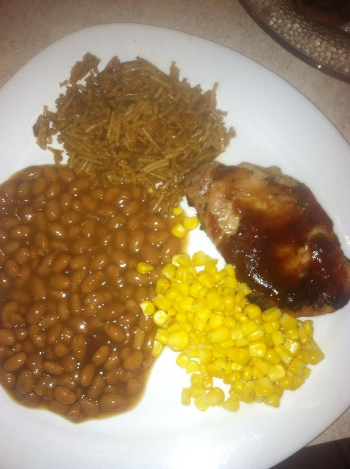 BBQ Pork chops with corn...baked beans and rice vermiccilli
