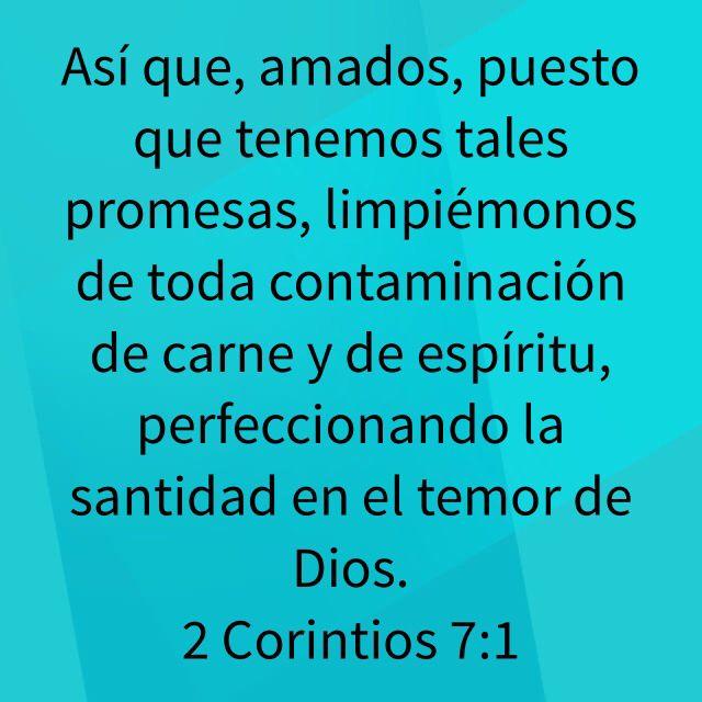Así que, amados, puesto que tenemos tales promesas, limpiémonos de toda contaminación de carne y de espíritu, perfeccionando la santidad en el temor de Dios. (2 Corintios 7:1 RVR1960)