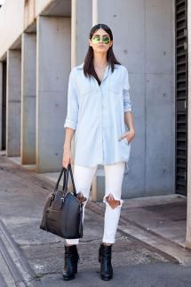 Fall Fashion Street Style - Fresh Ways to Wear Double Denim: Wear a Chambray Shirt With White Jeans