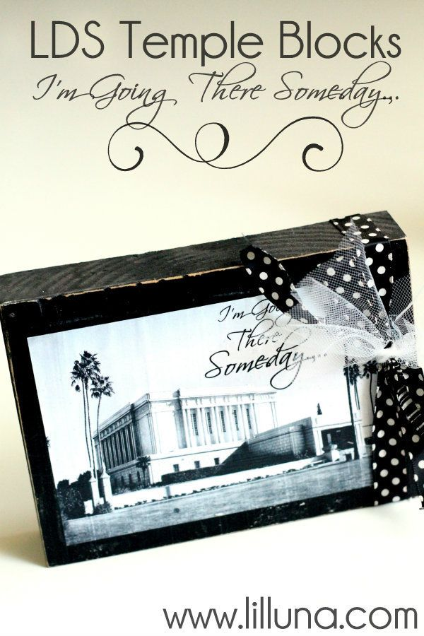 LDS Temple Blocks that are cute and made for a dollar!! Lots of temple pictures to choose from on { lilluna.com }