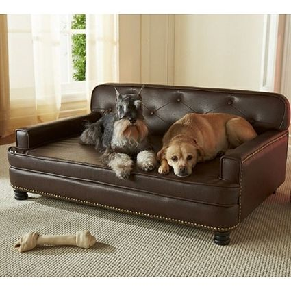A High Quality Brown Faux Leather Sofa Bed For Large Dogs Up To 75 Lbs