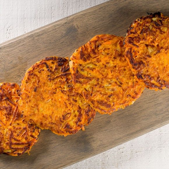 Sweet potato pancakes with carrot and onion recipe