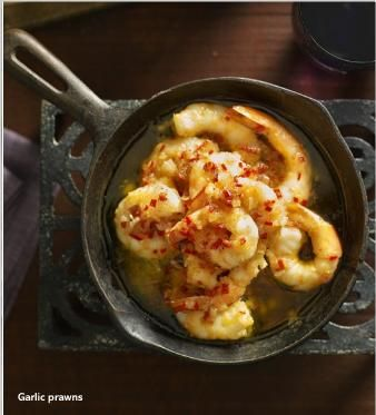 Garlic prawns. Clipped from Better Homes and Gardens using Netpage.