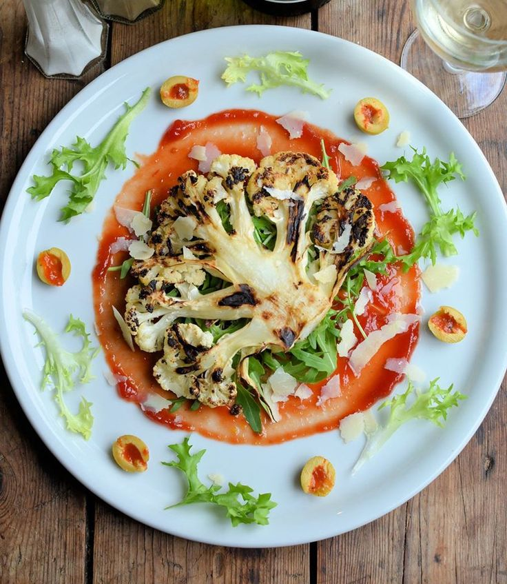 Lavender and Lovage   5:2 Diet Recipe: Cauliflower Steaks with Grana Padano Cheese, Olives and Rocket Leaves   http://www.lavenderandlovage.com