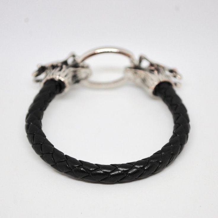 Купить Мужской кожаный браслет с застежкой в виде драконов с рогами в интернет магазине бижутерии, аксессуаров и мужской одежды OTOKODESIGN