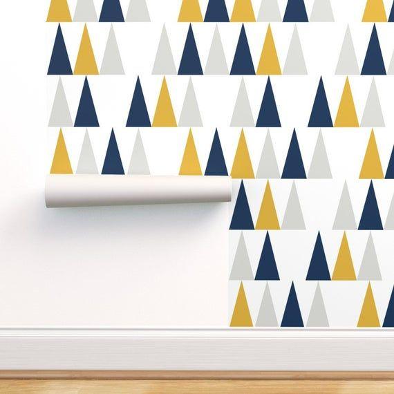 Arrows Wallpaper Tall Triangles In Blue Yellow Grey By Etsy Chevron Wallpaper Blue Yellow Grey Pink Chevron Wallpaper