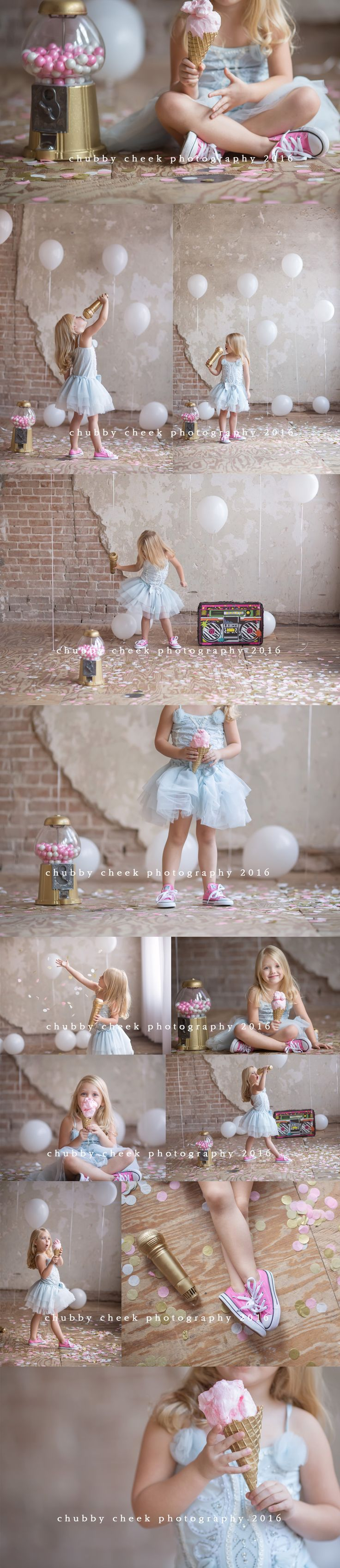 Pretty photos of a little girl with fun props: tutu, ice cream and bubblegum