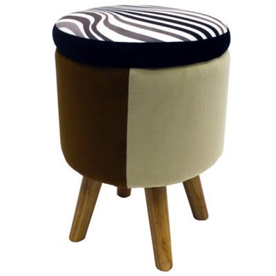 Buy Wilde - Contemporary Round Storage Stool - Black / Brown / Beige from our Bar Tables & Stools range - Tesco