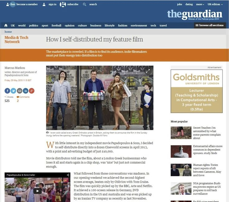 Met alumni Marcus wrote an article on self-distribution, as featured on the Guardian's media network. Marcus originally studied on our part-time producing course.  Read it here. #Filmmaking #FilmProducing