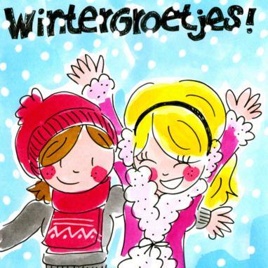 Wintergroetjes met sneeuwvlokjes- Greetz