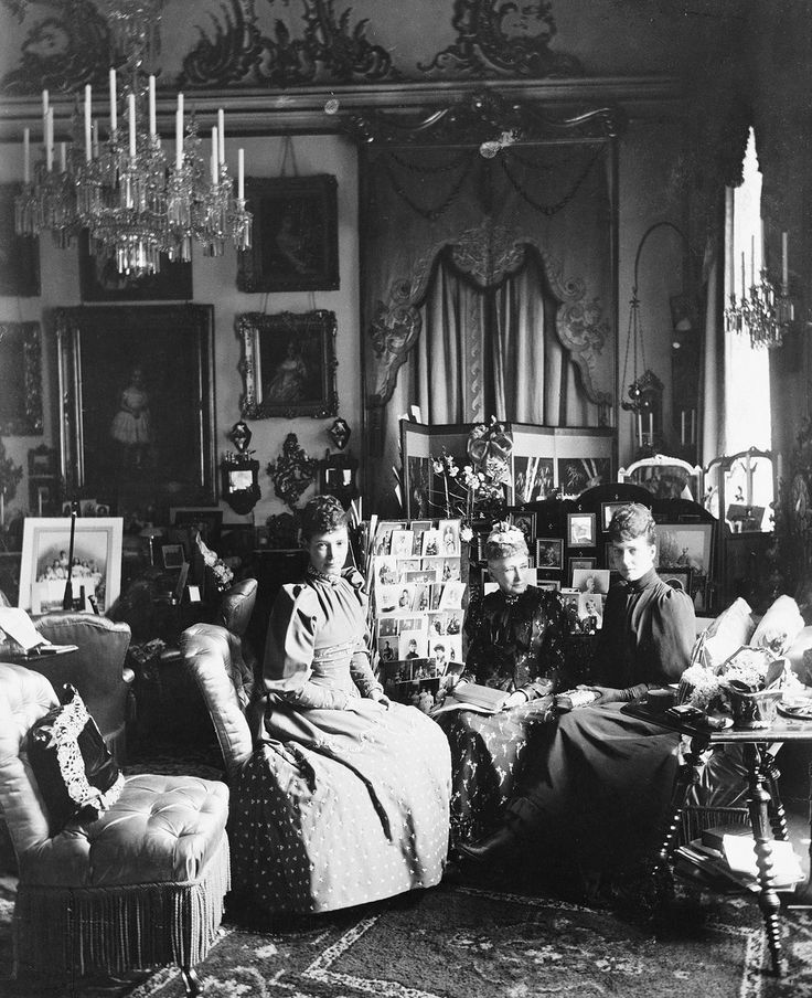 1892. Empress Maria Feodorovna and her sisters Louise and Alexandra. Royal Palace. Copenhagen.
