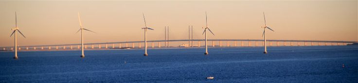 Øresund Bridge and Windmills off Copenhagen seen from the DFDS Pearl Seaways ferryboat en route to Oslo.
