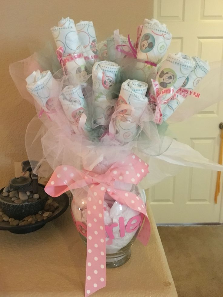 39 best princess baby shower ideas images on pinterest for Pink diaper bouquet