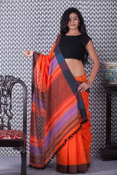 Orange Khadi Handloom Saree With Dual Border-KCH08750113