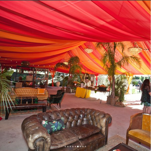 The Gardens at Prince Erik Hall by Santa Anita Gardens Catering. Canopy drapes on Instagram by @orangecountylinens