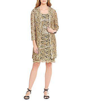 R&M Richards Metallic Lace 2-Piece Jacket Dress
