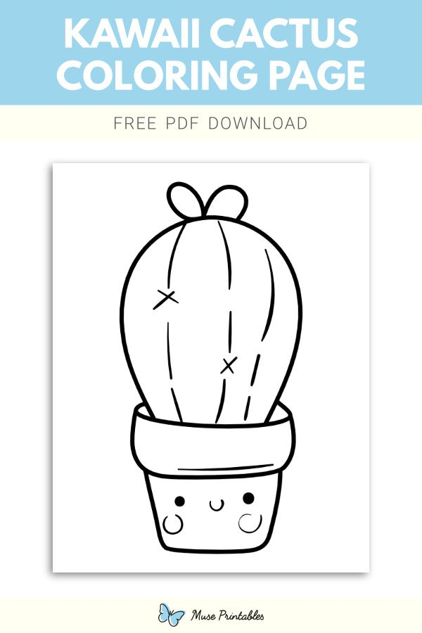 Free Kawaii Cactus Coloring Page Coloring Pages Color Cactus