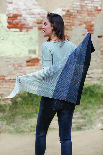 Katia Ombre Hand Knitted Shawl. Easy pattern available with kit purchase.
