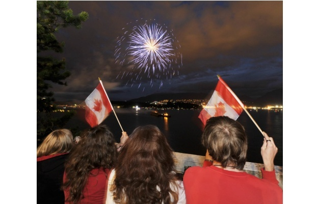 Happy July 1st Canada Day Weekend!  Fireworks over Vancouver Harbour.