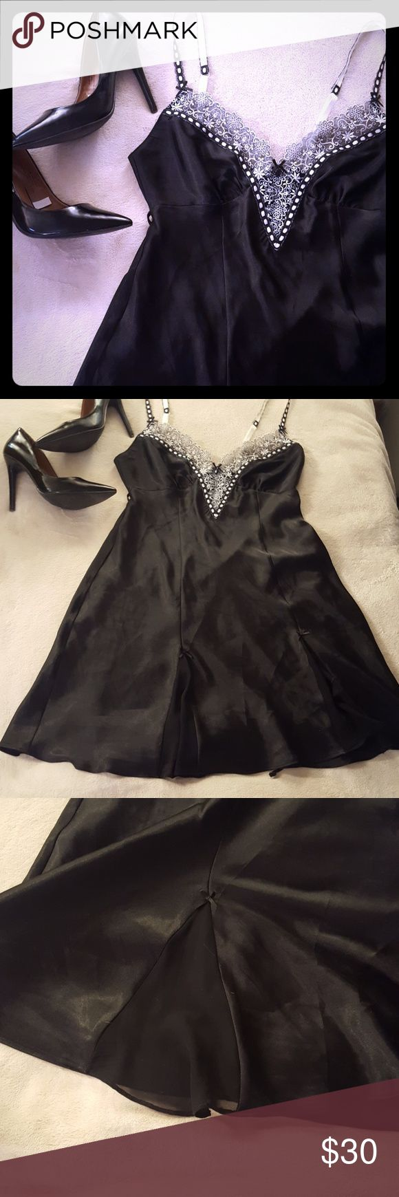 🍷Lingerie gown Lingerie gown short little black dress. Adjustable straps, ties around back. Little bows on the bottom of the dress. nd intimates Intimates & Sleepwear Chemises & Slips