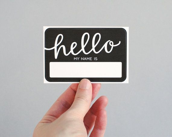 These fun adhesive name tags would be perfect for your next party, meeting, or other gathering. They are based on the traditional Hello, my name