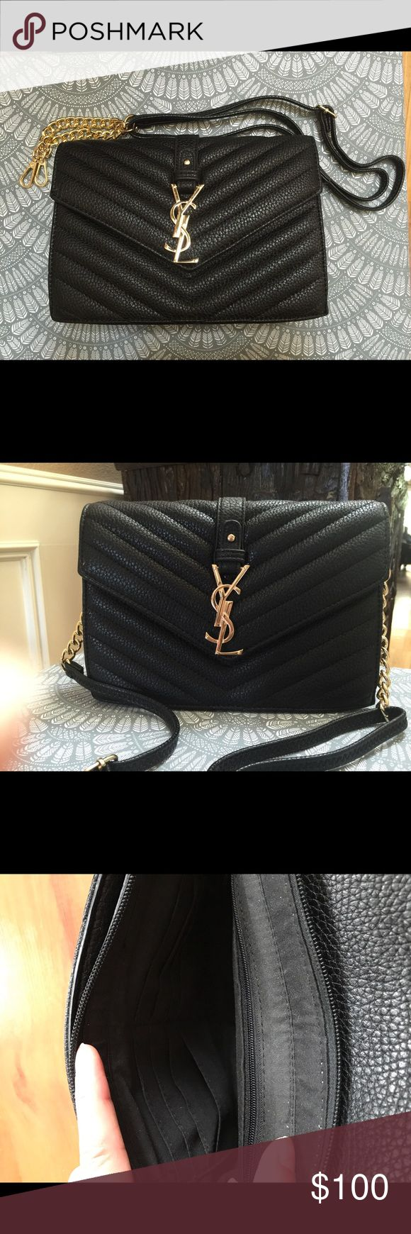 YSL Black Envelope Chain Crossbody Black Crossbody Bags Crossbody Bags