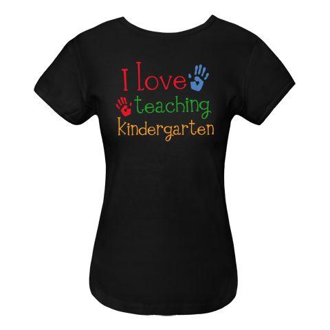 Kindergarten Teacher Women's Fitted T-Shirts design has bright colored handprints with I Love Teaching Kindergarten school slogan. $19.99 www.personalizedteachershirts.com
