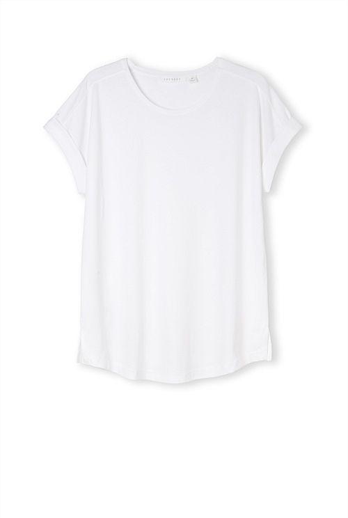 New work wardrobe Trenery Modern Pima Cotton T-Shirt White & Marle Grey