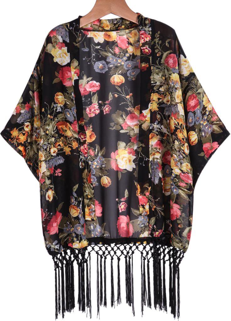 Kimono Floral manga larga-negro 14.40