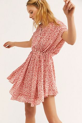 c4efb4bce0 One Fine Day Mini Dress - Red Floral Mini Dress - Floral Mini Dresses - Free  People Floral Dresses - Short Sleeve Floral Mini Dress - Spring Dresses