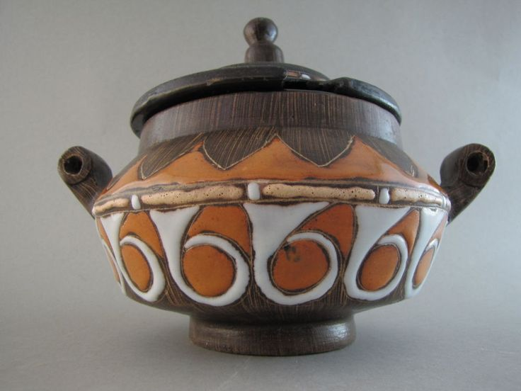 Bitossi Raymor Italian midcentury sgraffito pottery small orange tureen & lid in Pottery & Glass, Pottery & China, Art Pottery | eBay