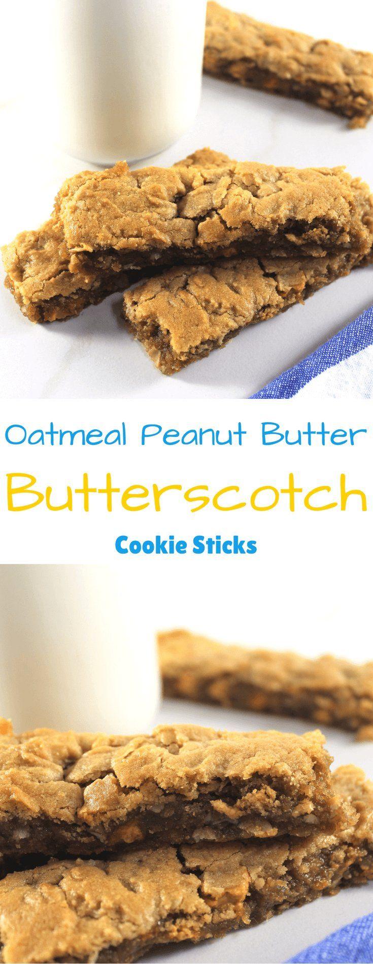 Oatmeal Peanut Butter Butterscotch Cookie Sticks