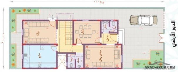 مخطط فيلا الياسمين 250 متر مساحه الارض 4 غرف نوم Arab Arch Floor Plans How To Plan Flooring