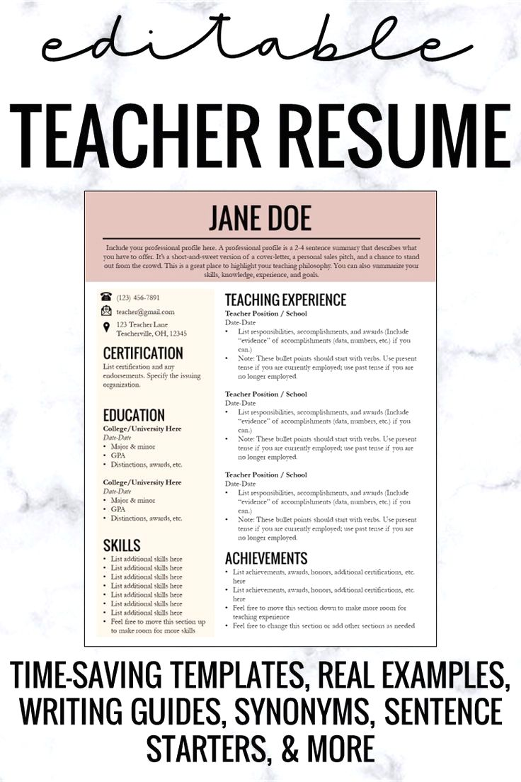 Resume Template With Headshot Photo Cover Letter 1 Page Word Resume Design Diy Cv Template In 2020 Teacher Resume Teacher Resume Template Teacher Resume Examples