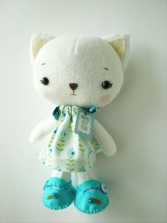 Kawaii Cat Plushcute presentstuffed toy by littlehappystitches, $24.00
