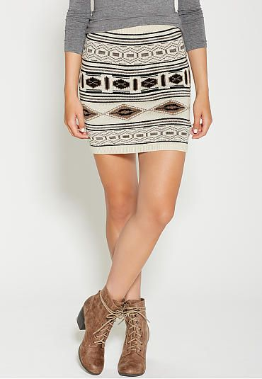 sweater skirt in neutral colored ethnic pattern (original price, $34) available at #Maurices