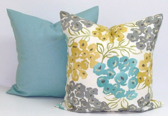 TEAL PILLOW YELLOW Pillow Gray Pillow Floral by ElemenOPillows