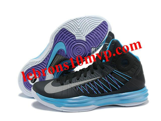Authentic Nike 2013 Womens Lunar Hyperdunk Basketball Shoes Sport Pack Black  Metallic Silver Blue Glow For Wholesale
