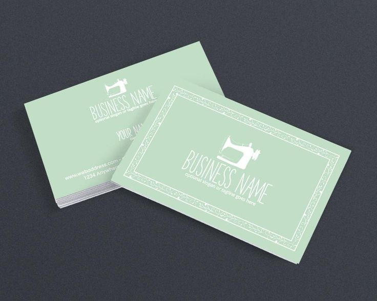 Sewing Business Card Design Crafty 101 Mint Green