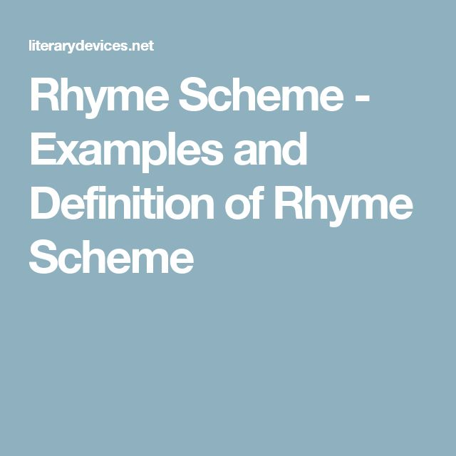 Rhyme Scheme - Examples and Definition of Rhyme Scheme