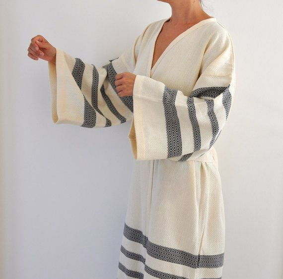 Robe Peshtemal Bath Robe Kimono Robe Caftan Turkish Bath Towel Long Extra Soft Cotton Obi Belt Ivory Black Eco Friendly Gifts on Etsy, £44.64