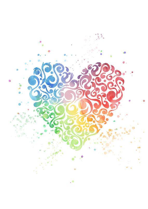 Heart Rainbow Multicolor-Watercolor Art Print-Wall by MadamePrint
