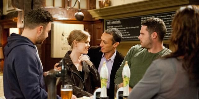Adam Barton (Adam Thomas), Jai Sharma (Chris Bisson), Aaron Livesy (Danny Miller) & Chas Dingle (Lucy Pargeter)