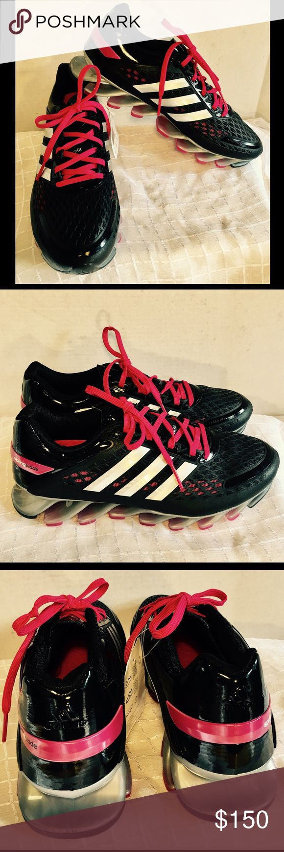 NEW! ADIDAS SPRINGBLADE RAZOR SNEAKERS SIZE 8 1/2 DESIGNER-ADIDAS.                                                STYLE--RAZOR SPRINGBLADE.                             BRAND NEW.                                                               SIZE --8 1/2.                                                             COMES WITH ADDITIONAL BLACK SHOESTRINGS.                                                           SOLE--POLYMER BLADE SOLES.                             EVA CUSHIONED SOLE Adidas…