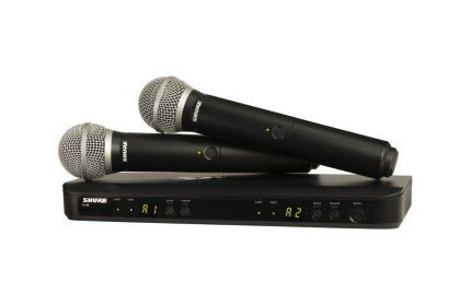 Shure BLX288/PG58 Dual Handheld Wireless PG58 Microphone System - With two PG58 handheld microphone transmitters and one dual-channel receiver, this dependable Shure wireless system is perfect for miking two vocalists.