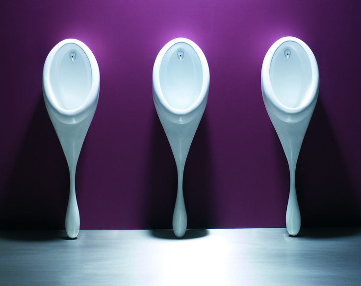 SPOON - Fabricated in cast solid resin for strength, the spoon urinal has been designed to complement the spoon sink
