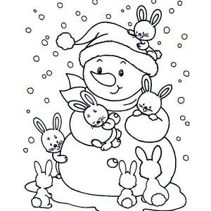 Two Little Cat With Winter Snowman Wearing A Boy Scout Hat Coloring Page