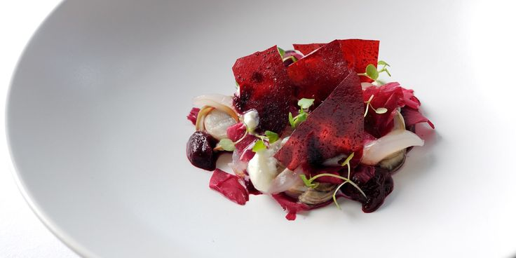 This stunning dish from Adam Simmonds pairs lightly poached oysters with beetroot purée, tuille and a horseradish foam