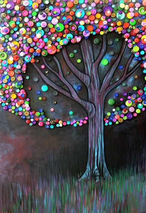 Button tree by Monica Furlow on fine art america: Trees Art, Buttonart, Trees Crafts, Buttons Crafts, Diy Art, Buttons Art, Trees Paintings, Buttons Trees, Art Projects